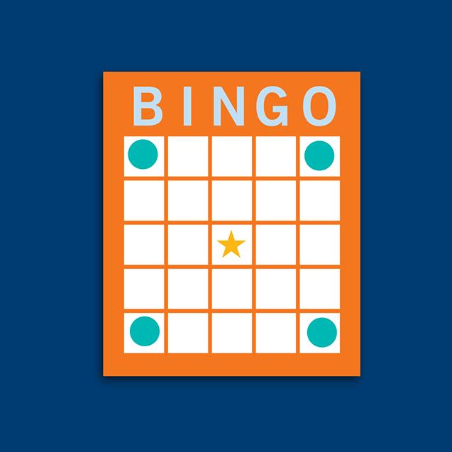 宾果卡上显示四个角