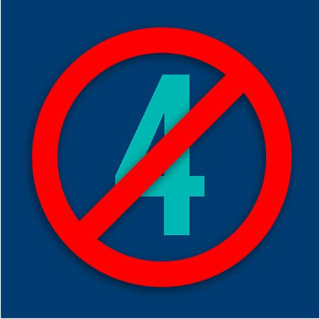 數字 4被國際禁止標志劃掉