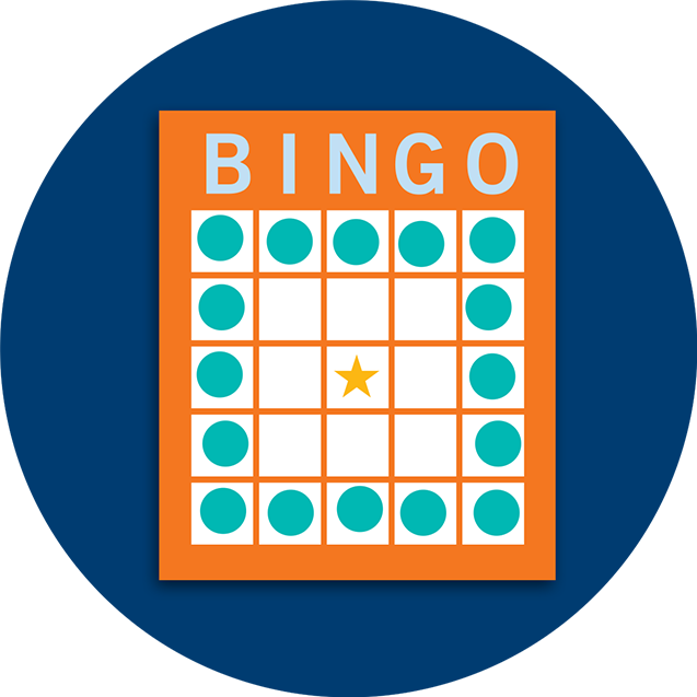 Carte de bingo montrant une combinaison en grand carré extérieur.