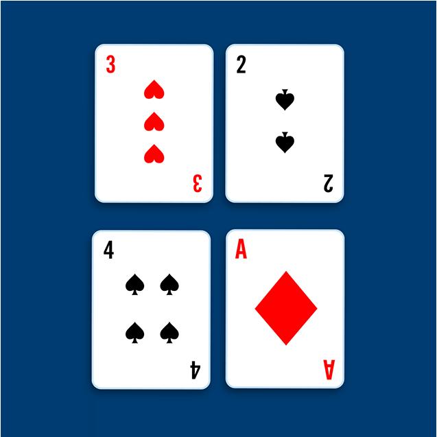 Quatre cartes: en haut, un trois de cœur à côté d'un quatre de pique et, en bas, un deux de pique à côté d'un cinq de cœur.