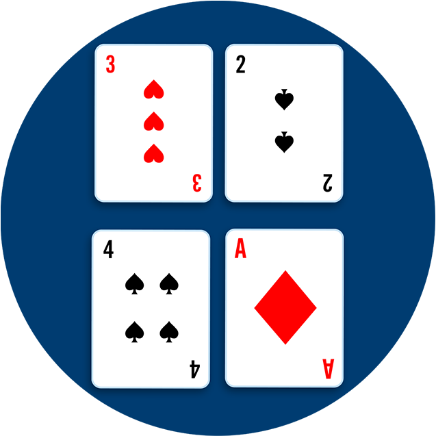 Four cards: A three of hearts beside a four of spades above, and a two of spades beside an five of hearts below.