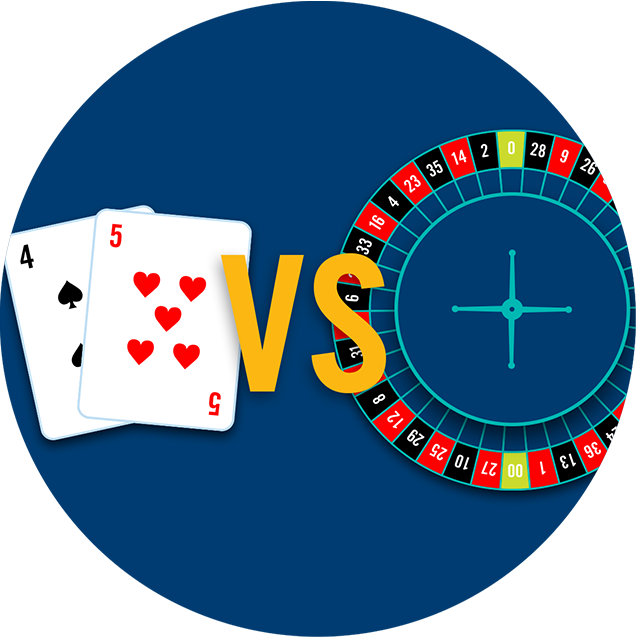 A 4 of spades and a 5 of hearts vs. a roulette wheel.