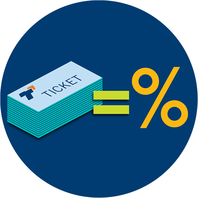 A stack of TapTix tickets equaling a percentage symbol.