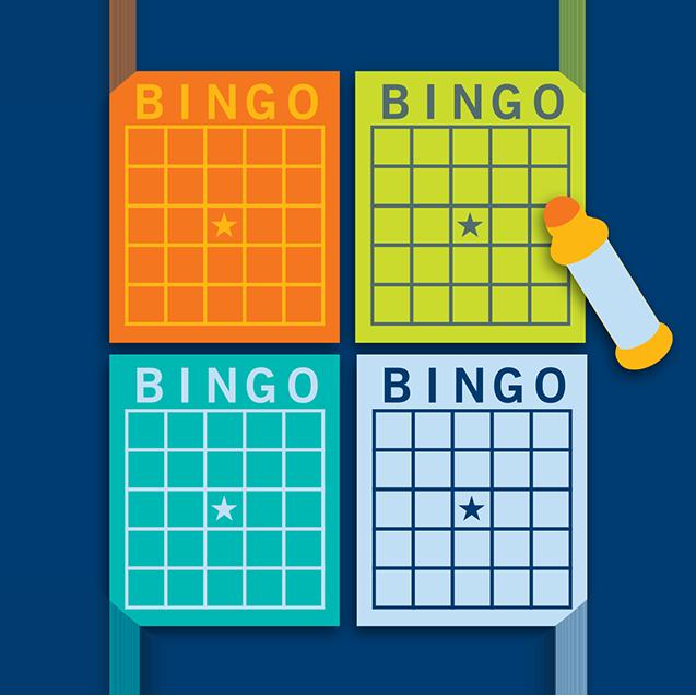 Quatre cartes de bingo et un tampon.