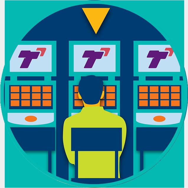 在一排三台TapTix機上,一個黃色的箭頭指向中間那台玩家正在玩的TapTix 機
