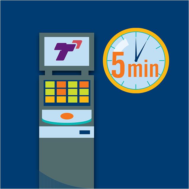 Une horloge à côté d'une machine TapTix indique une période de 5 minutes.
