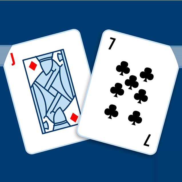 一張方塊J和一個黑桃7