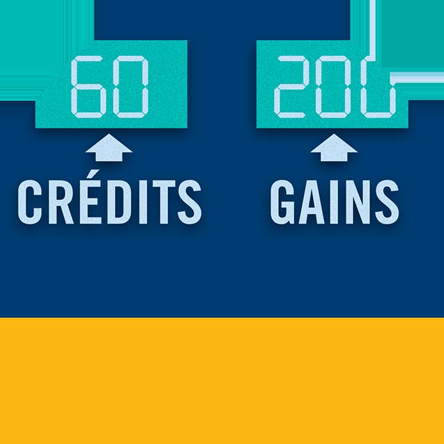 Machine affichant 60 crédits et un gain de 200$