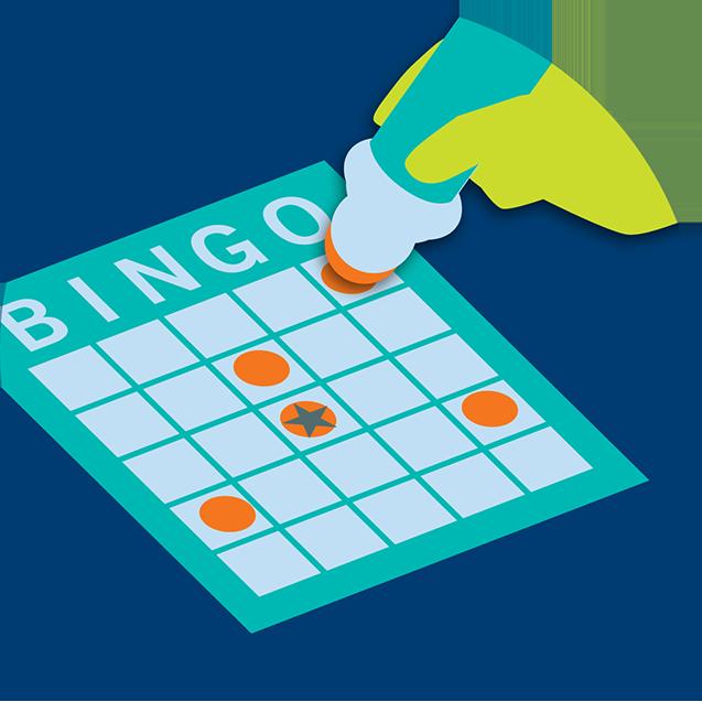 Combinaisons à tamponner sur une carte de bingo.