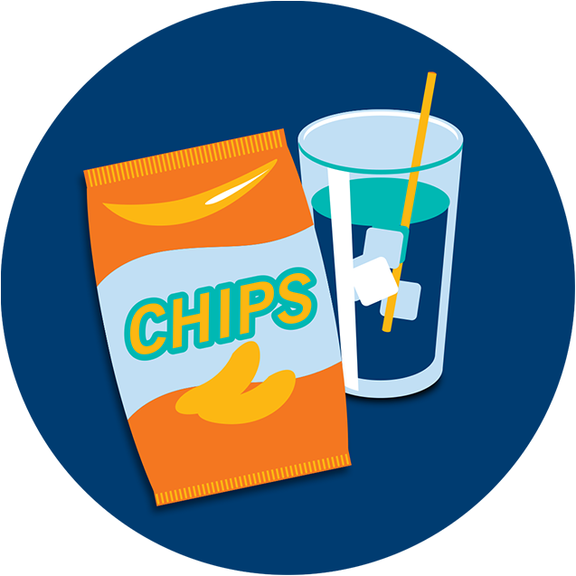 A bag of potato chips next to a cold beverage.
