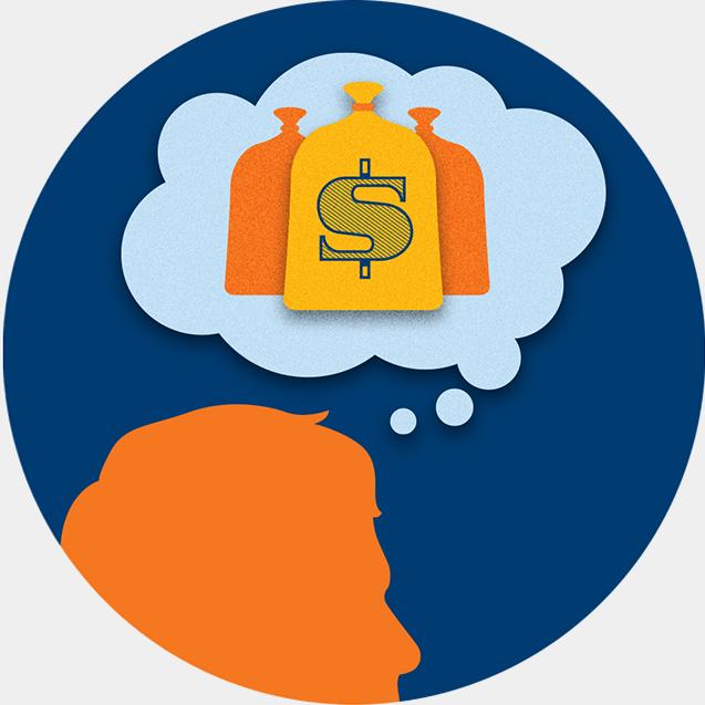 一个思考泡悬停在一个玩家的头上,泡里边填满了一袋袋的钱