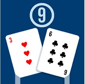 Deux cartes: un trois de cœur et un six de trèfle, avec un « 9 » encerclé au-dessus des cartes.