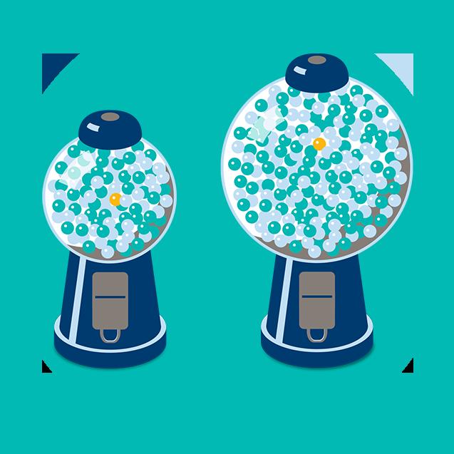 两个口香糖机;一个比另一个略大些。在每个机器里,都有有一堆蓝色口香糖球和一颗橘色口香糖球
