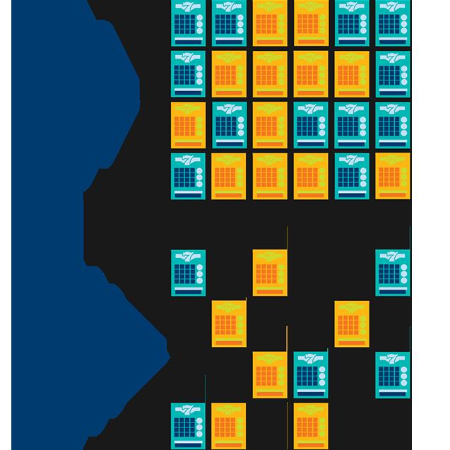 Au jour 1, il y a 24 billets dont 12 sont mis en évidence en jaune. Les autres sont bleus. Au jour 30, il y a onze billets dont six sont mis en évidence en jaune. Les autres sont bleus.