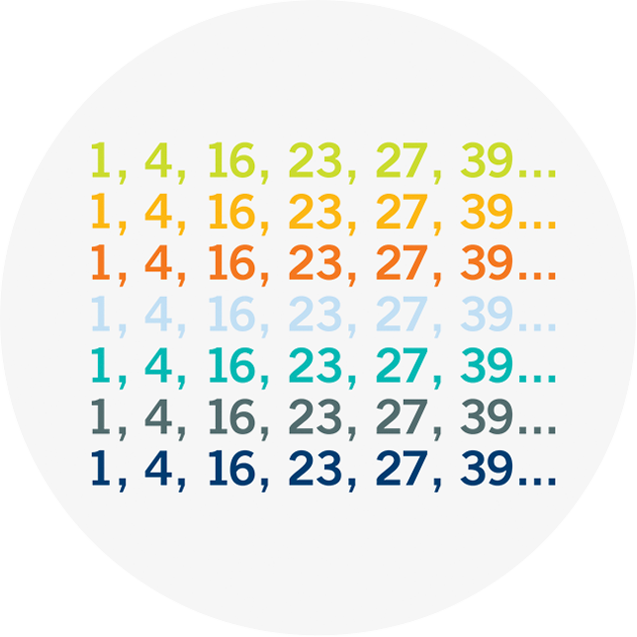 The same set of 6 numbers repeated 7 times