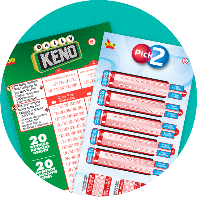 DAILY KENO AND PICK-3 selection slips showing the game boards.