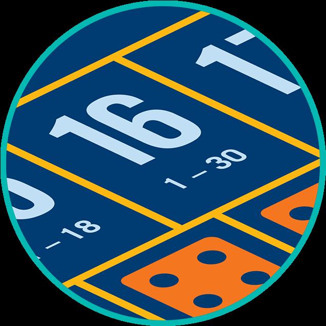 Gros plan sur la case de pari où la somme des dés est « 16 » avec le rapport de paiement de 30 pour 1.