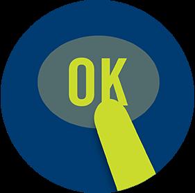 Un doigt touche le bouton « OK ».