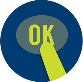 "A finger touches a button labelled ""OK""."