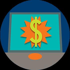 Sur l'écran du terminal, unsymbole de dollar est superposé à une étoile rayonnante.