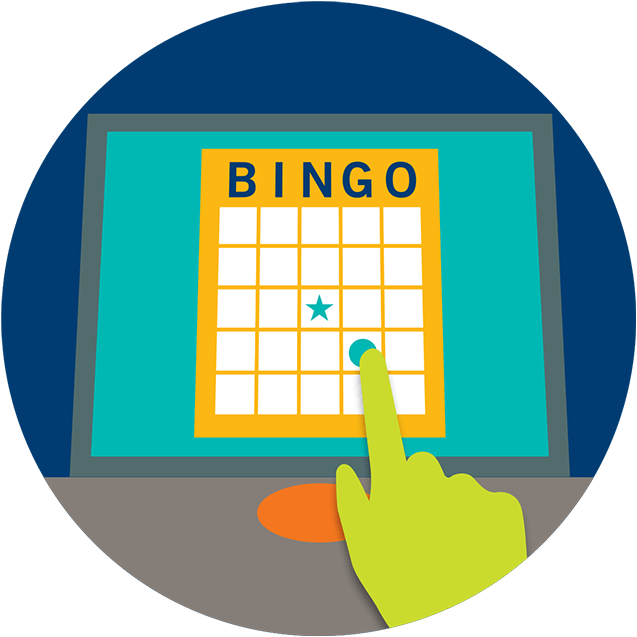 Un doigt touche un numéro sur une carte de bingo électronique sur l'écran d'un terminal.