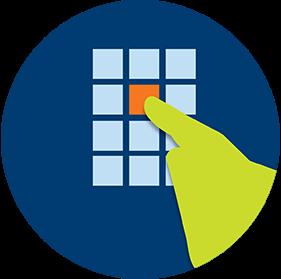 Un doigt touche une icône carrée sur l'écran d'un terminal.