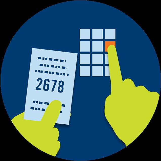 Une main tient un reçu sur lequel il y a une série de numéros : 2678, alors que l'autre main entre ces numéros sur l'écran du terminal.