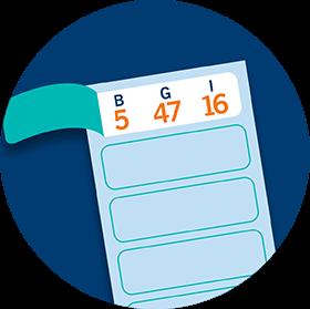 La première languetted'un billet est ouverte et affiche la série de numéros de bingo suivante: B5, G47, I16.