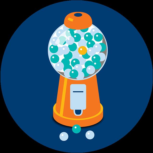 Une distributrice de boules de gomme est remplie de boules bleu pâle et de boules bleu foncé. Une seule boule orangese trouve parmi les autres boules.
