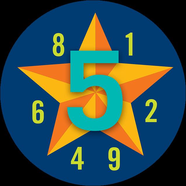 Un 5 de grande taille est superposé à une étoile et une série denumérosaléatoires apparaissent en plus petit en avant-plan.