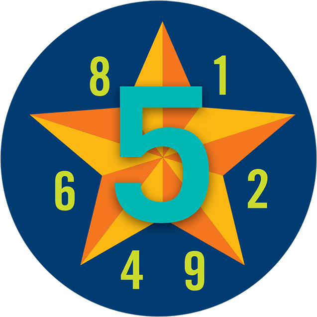 A large number 5 is superimposed over a star while a series of random numbers appear smaller in the foreground.