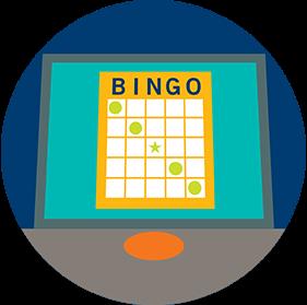 Surl'écran d'un terminal, il y a une carte de bingo sur laquelle une ligne diagonale descend de gauche à droite.