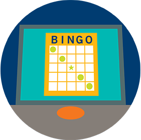A bingo card on a terminal screen shows a diagonal descending line from left to right.