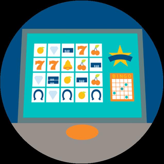 Une carte de bingo et une partie Play on Demand sont affichées sur l'écran d'un terminal.