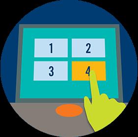 Un doigt touche l'une des quatre icônes sur l'écran d'un terminal.