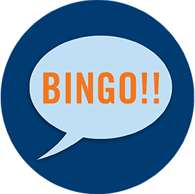 A speech bubble showing Bingo!!
