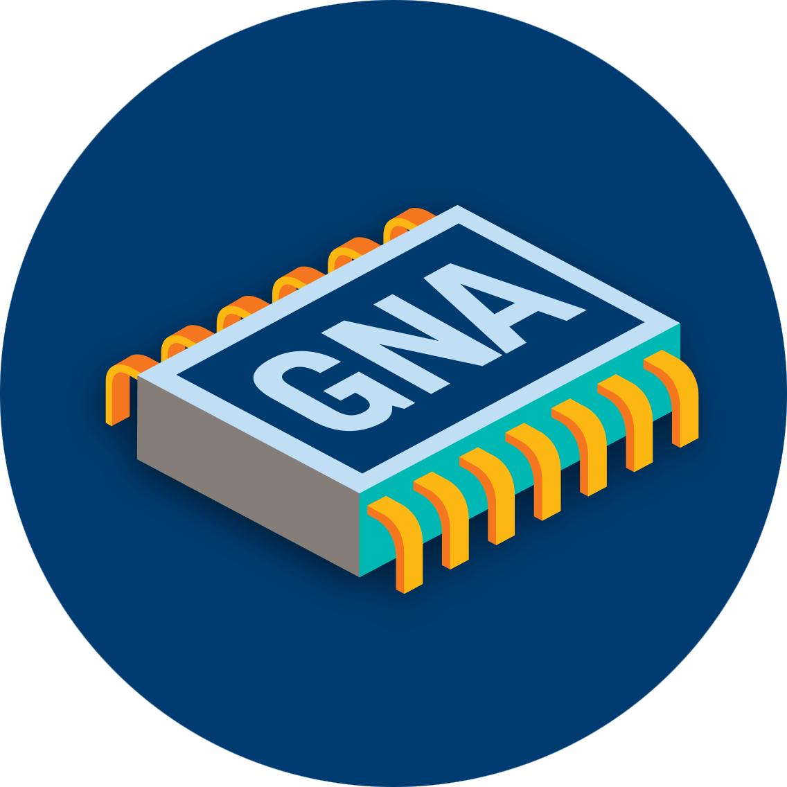 puce d'ordinateur avec GNA imprimé sur le dessus