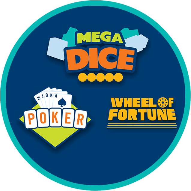 megadice poker and wheel of fortune logo in a circle