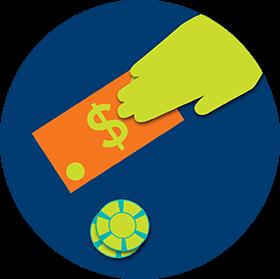 Une main tient un billet de banque sous lequel il y a un jeton.