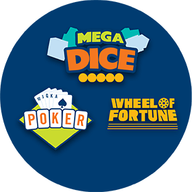 three games megadice poker wheel of fortune