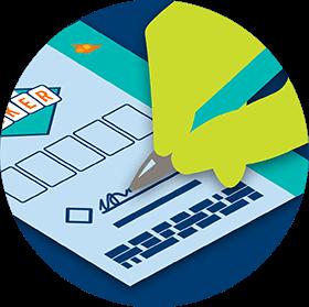 Une signature est apposée sur un billet de loterie.