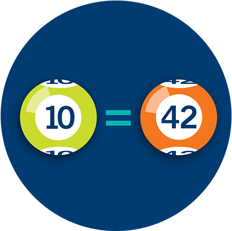 A number 10 lottery ball and a number 42 lottery ball, with an equal symbol between
