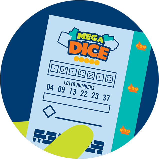hand holding mega dice ticket