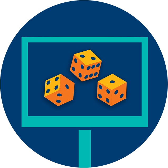 A monitor displays three dice in a random pattern showing 4, 2 and 1.