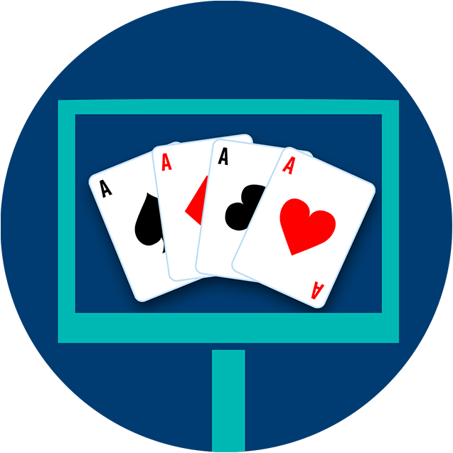 A monitor displays four playing cards, all aces.