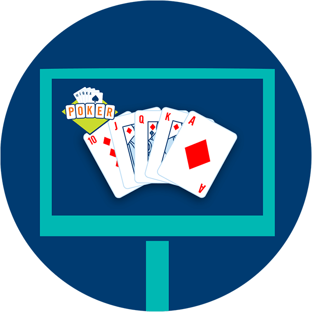 A monitor with a cards showing a royal flush and the poker lotto logo on the top left corner