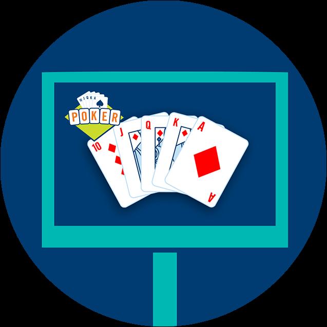 Un écran avec des cartes affichant une quinte royale et le logo de poker lotto dans le coin supérieur gauche.