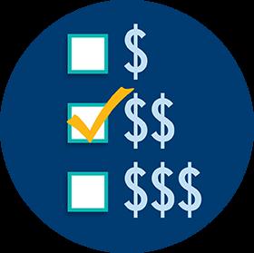 用金钱符号代表三个预算等级显示在桌子上,中间的选项被选中了。