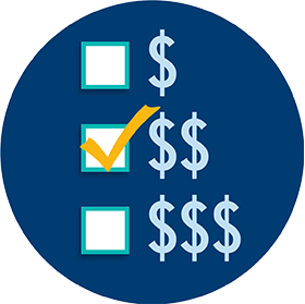 Un symbole de dollar, deux symboles de dollar et trois symboles de dollar apparaissent sous forme de liste et une case à cocher est placée à côté de chaque élément.