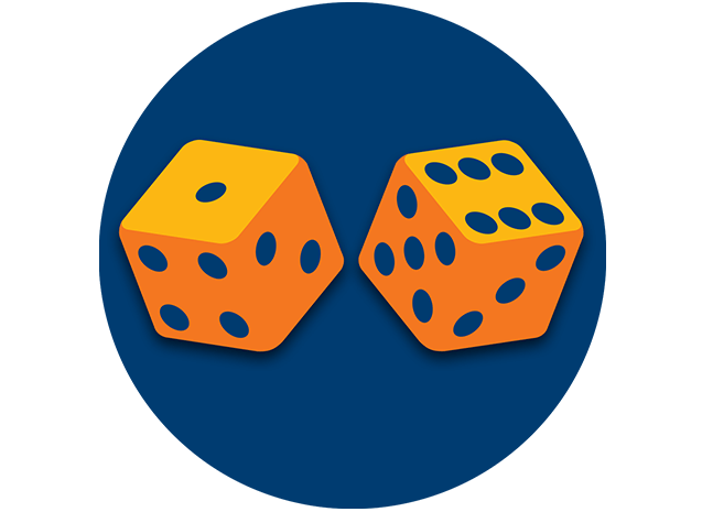 Deux dés affichent un 1 et un 6.